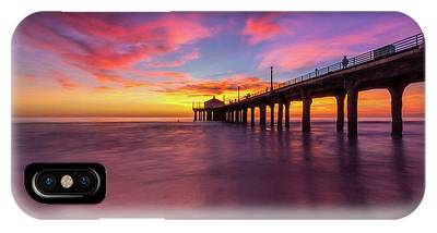 IPhone Case featuring the photograph Stunning Sunset At Manhattan Beach Pier by Andy Konieczny