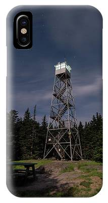 IPhone Case featuring the photograph Balsam Lake Mountain Firetower Moonlight by Brad Wenskoski