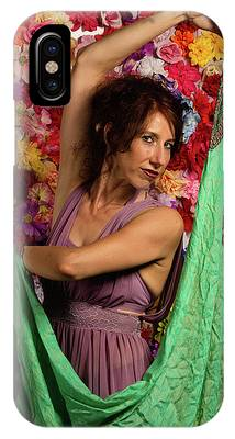 Beautiful Woman Surrounded By Flowers IPhone Case by Dennis Dame