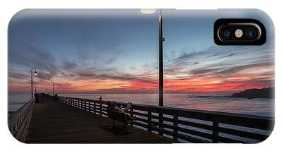 IPhone Case featuring the photograph Cayucos Pier Sunset by Mike Long