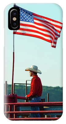 IPhone Case featuring the photograph Cowboy And American Flag by Dennis Dame