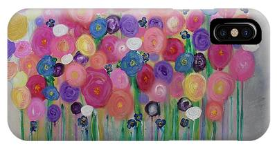 IPhone Case featuring the painting Floral Balloon Bouquet by Kim Nelson