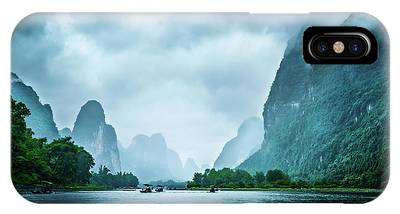 IPhone Case featuring the digital art Foggy Morning On The Li River  by Kevin McClish