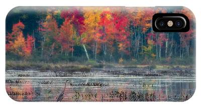 IPhone Case featuring the photograph Great Blue Heron On Loon Lake by Brad Wenskoski