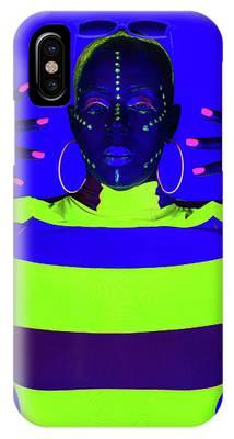 Modern Neon Portrait IPhone Case by Dennis Dame