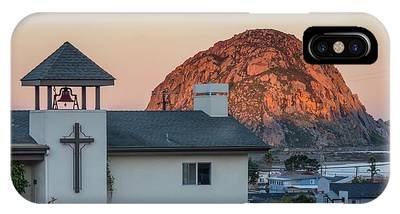 IPhone Case featuring the photograph Moonset Above Morro Rock by Mike Long