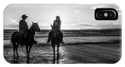 IPhone Case featuring the photograph Ocean Sunset On Horseback by Mike Long