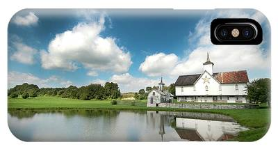 Old Star Barn And Pond Reflection IPhone Case