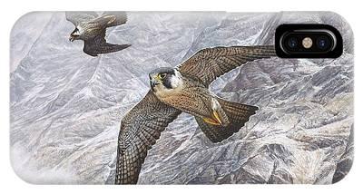 Pair Of Peregrine Falcons In Flight IPhone Case