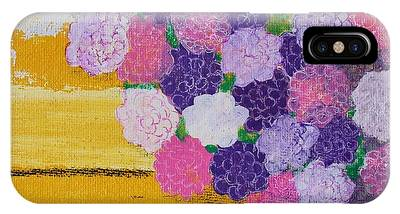 IPhone Case featuring the painting Pink Hydrangeas Or Are They Peonies? by Kim Nelson