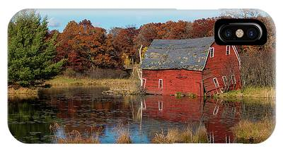 Sinking Red Barn In Fall IPhone Case