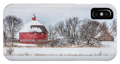 Snow Covered Round Barn IPhone Case