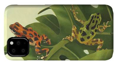Green Tree Frogs Paintings iPhone Cases