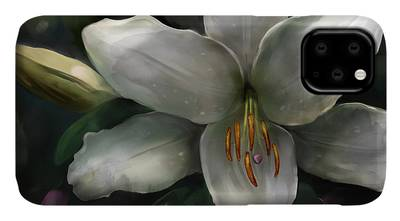 Lilies Mixed Media iPhone Cases