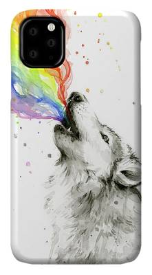 Colorful Psychedelic Rainbow Wolf iPhone 11 case