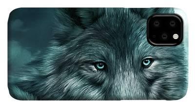 Blue eyed wolf iPhone 11 case