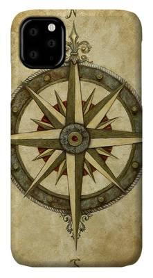 Steampunk Compass Rose & Antique Map iphone 11 case