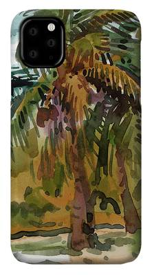 Coconut Trees Paintings iPhone Cases