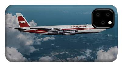 Commercial Airplane Mixed Media iPhone Cases