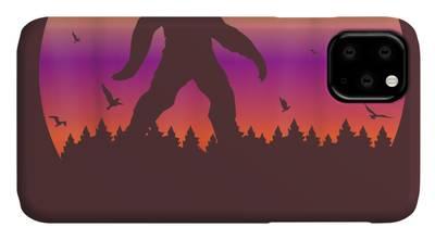 A Sasquatch Silhouette in The North iPhone 11 case