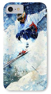 Skiing Action Paintings iPhone Cases