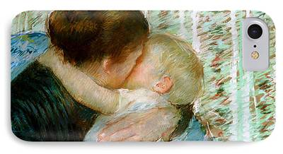 Caring Mother Paintings iPhone Cases