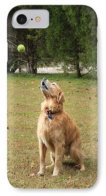 Dog With Tennis Ball Digital Art iPhone Cases