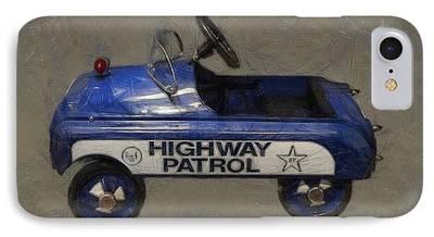 Police Cruiser Digital Art iPhone Cases