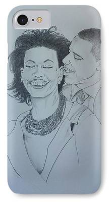 Michelle And Barrack Obama Drawings iPhone Cases