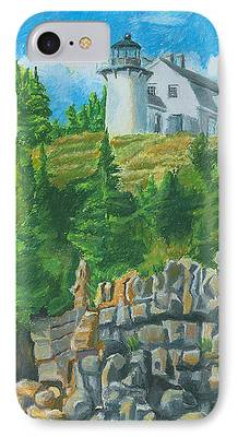 New England Lighthouse Drawings iPhone Cases