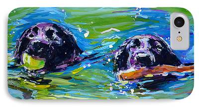 Dog With Tennis Ball Paintings iPhone Cases
