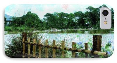 Bamboo Fence Mixed Media iPhone Cases