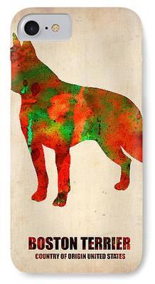 Boston Terrier Watercolor iPhone Cases