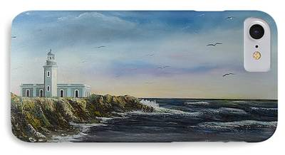 Flying Seagull Paintings iPhone Cases
