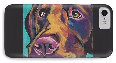 Chocolate Lab Paintings iPhone Cases