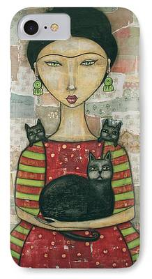 Lady Mixed Media iPhone Cases