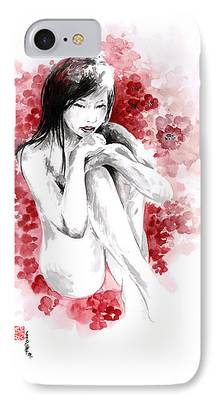 Cherry Blossoms Drawings iPhone Cases