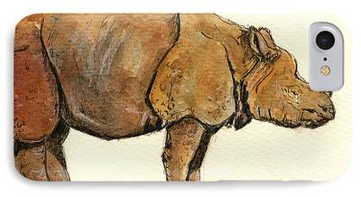 One Horned Rhino Paintings iPhone Cases