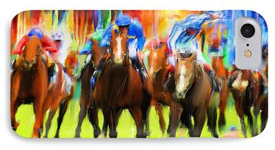 Horse Racing Digital Art iPhone Cases