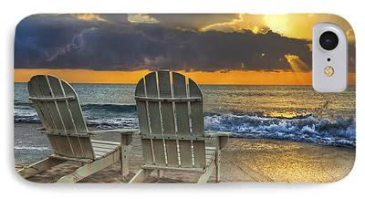 Adirondack Chairs On The Beach iPhone Cases