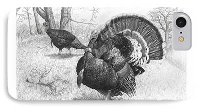 Eastern Wild Turkey Drawings iPhone Cases