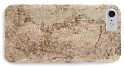 Fantasy Landscape With Figure Drawings iPhone Cases