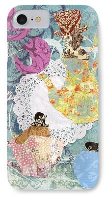 March Hare Mixed Media iPhone Cases