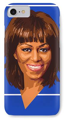 Michelle Obama Portrait Digital Art iPhone Cases