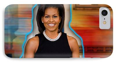 Michelle Obama Mixed Media iPhone Cases