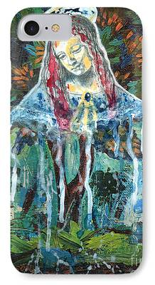 Spiritual Portrait Of Woman Mixed Media iPhone Cases