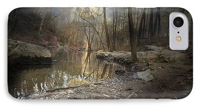 Trees Reflecting In Creek iPhone Cases