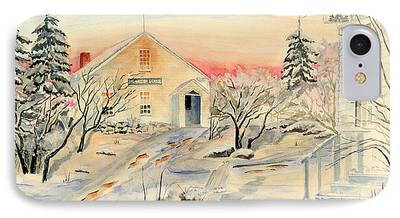 Winter In Maine Paintings iPhone Cases