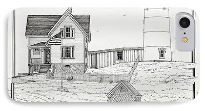 Nubble Lighthouse Drawings iPhone Cases