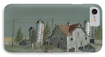 Old Barns Paintings iPhone Cases